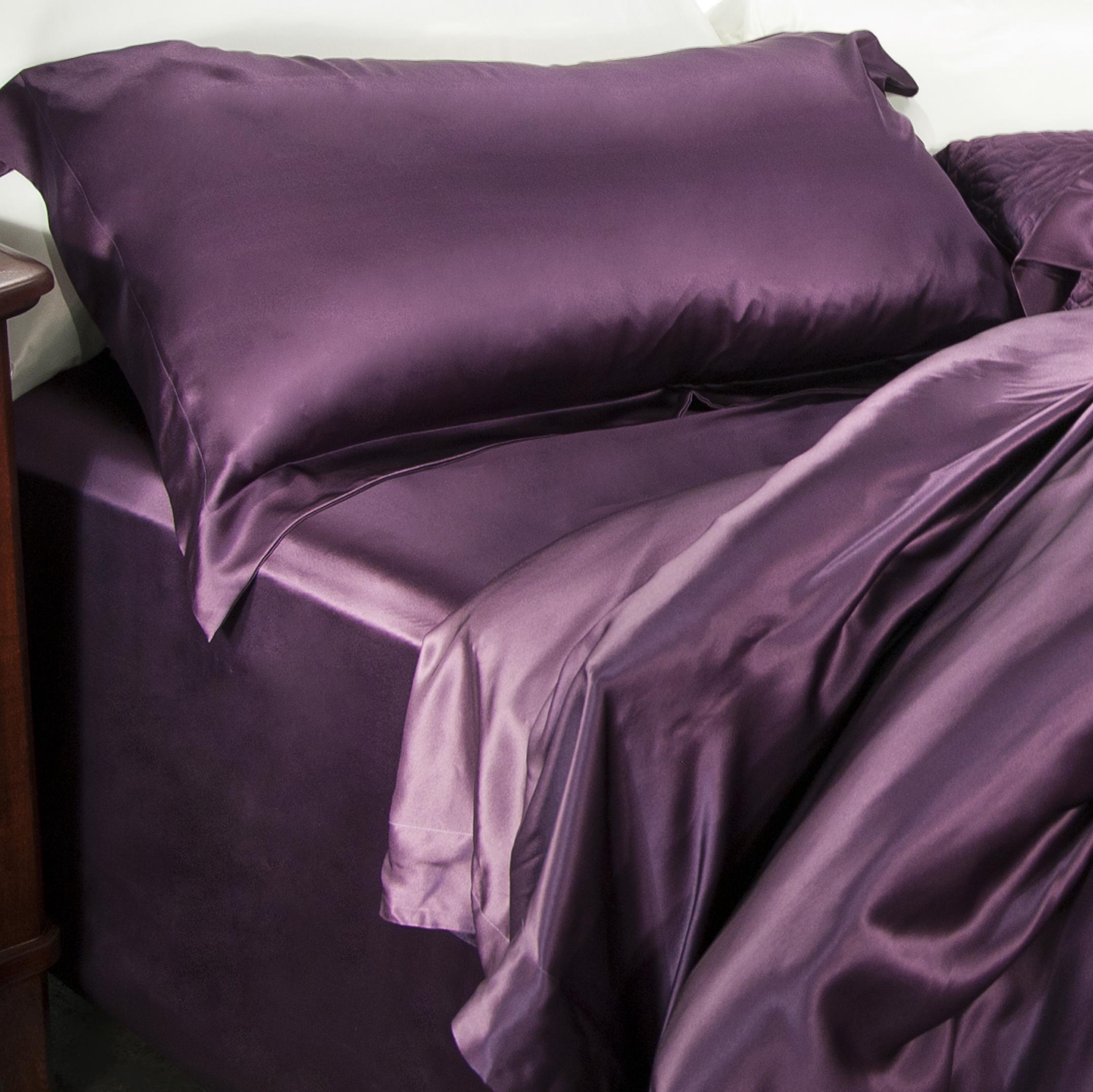 Aus Vio 100% Silk Flat Sheet, Queen, Iris at Sears.com